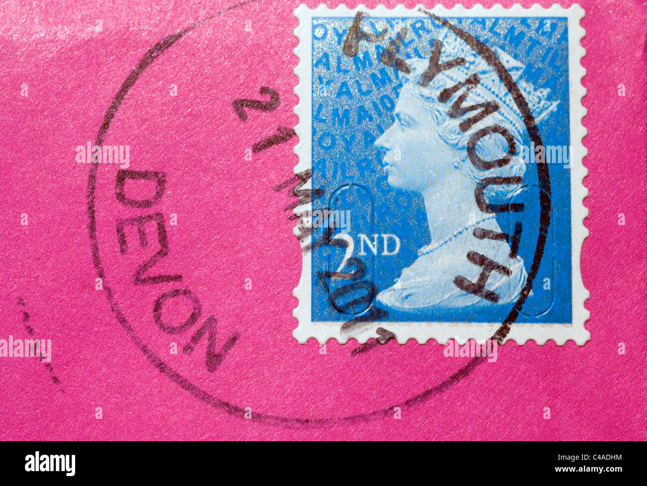A Second Class (2nd) light blue Royal Mail Post Office Postage Stamp with HRH Queen Elizabeth II head - Stock Image