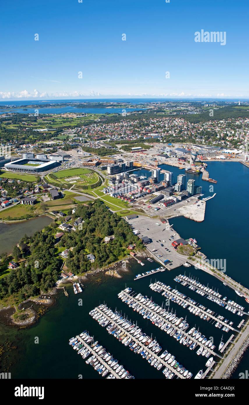 Hinna Park, Viking stadion, Stavanger, Norway. Aerial - Stock Image