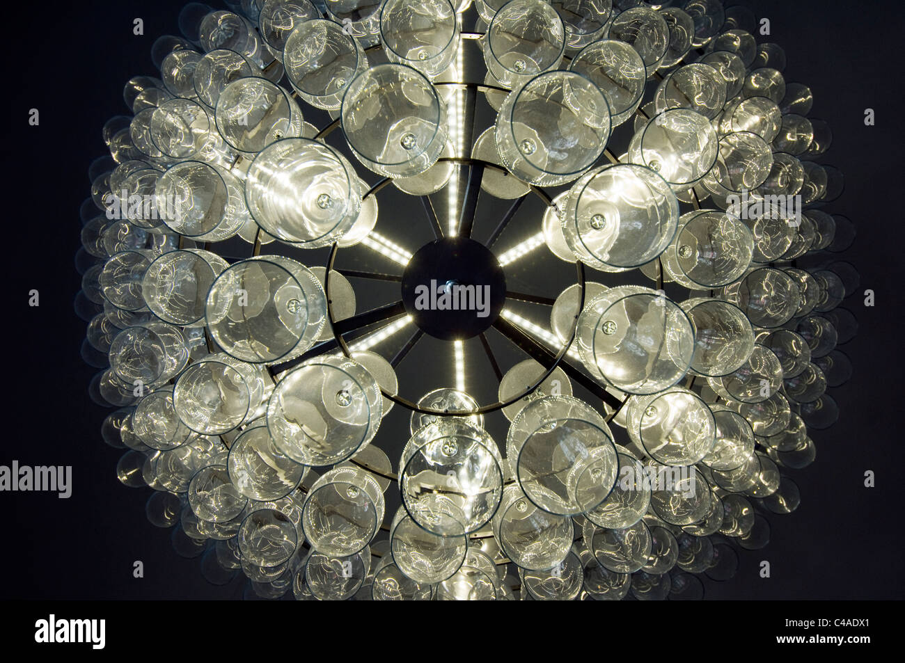 A chandelier made from wine glasses stock photo 37109801 alamy a chandelier made from wine glasses aloadofball Choice Image