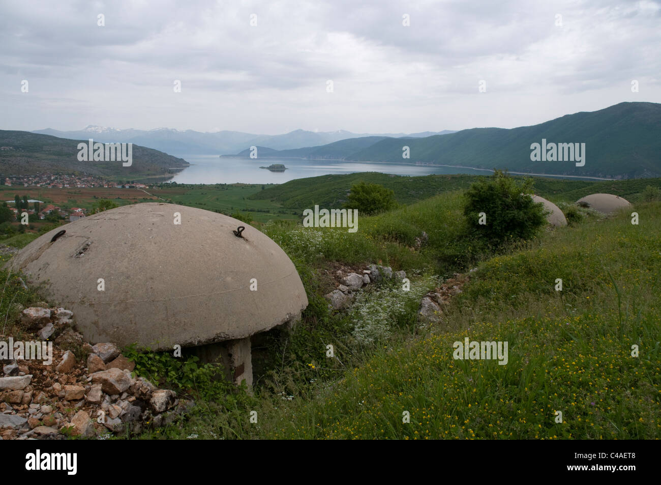 Some hundred thousends of military bunkers were constructed in Albania's socialistic era.  Bunker aus Albaniens - Stock Image
