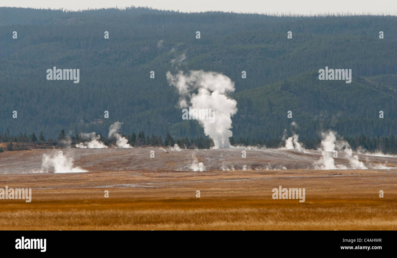 A distant landscape shot of the Middle Geyser Basin area of Yellowstone National Park, Wyoming, USA. - Stock Image
