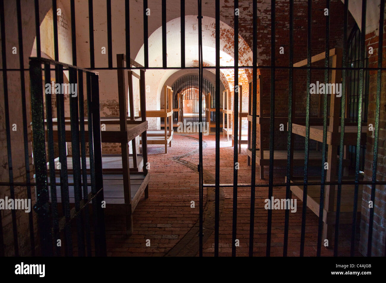 Used as prison for Confederate prisoners inside Fort Pulaski National Monument, Tybee Island, Georgia - Stock Image