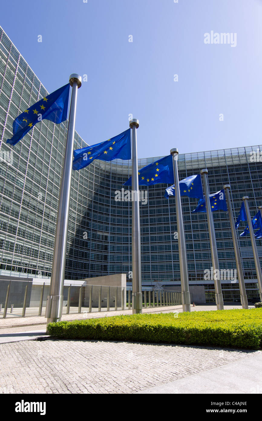 european commission building brussels flags - Stock Image