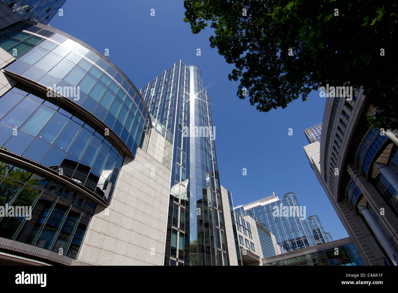 european parliament building brussels - Stock Image
