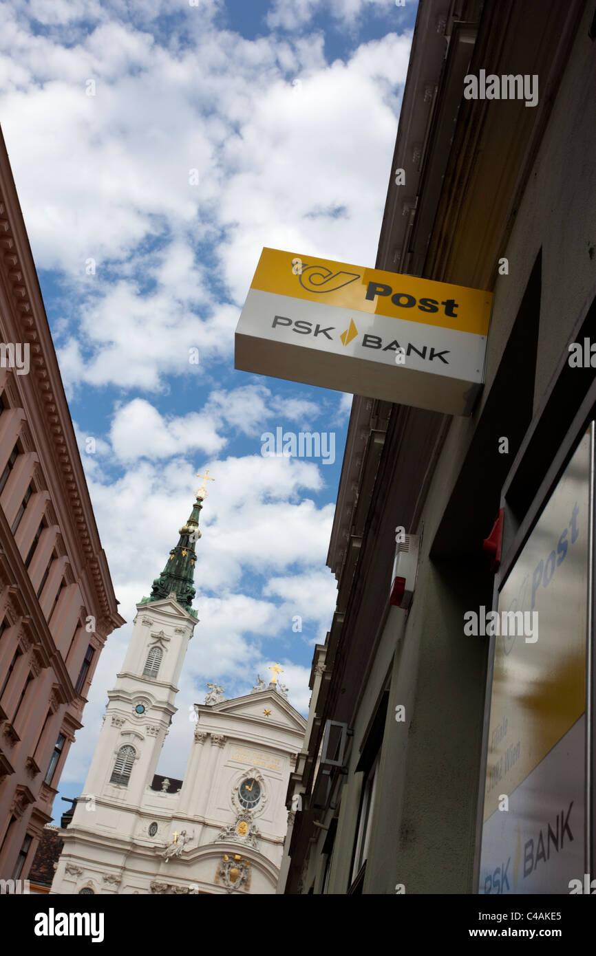Psk Postal Savings Bank Sign In Front Of Maria Treu Church Austria