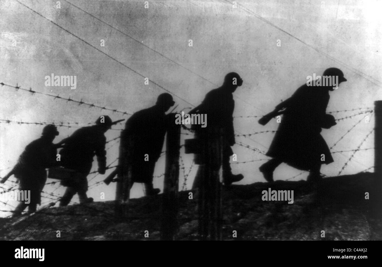 Sappers of the Red army in strongly fortified zone near Leningrad, Russia - Stock Image