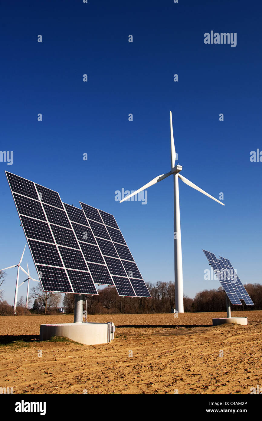 Wind turbines and commercial solar photo voltaic cells in