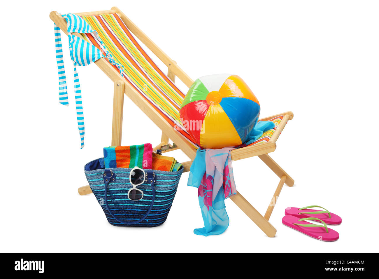 Deckchair and accessories isolated on white background. - Stock Image