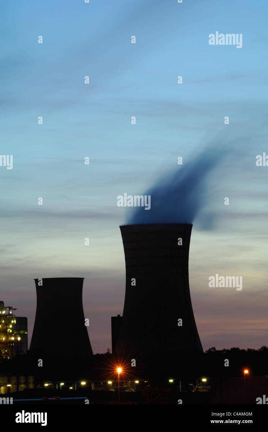 Cooling towers silhouette  of coal electrical power station Emile Huchet, Carling Saint Avold, Moselle, France - Stock Image