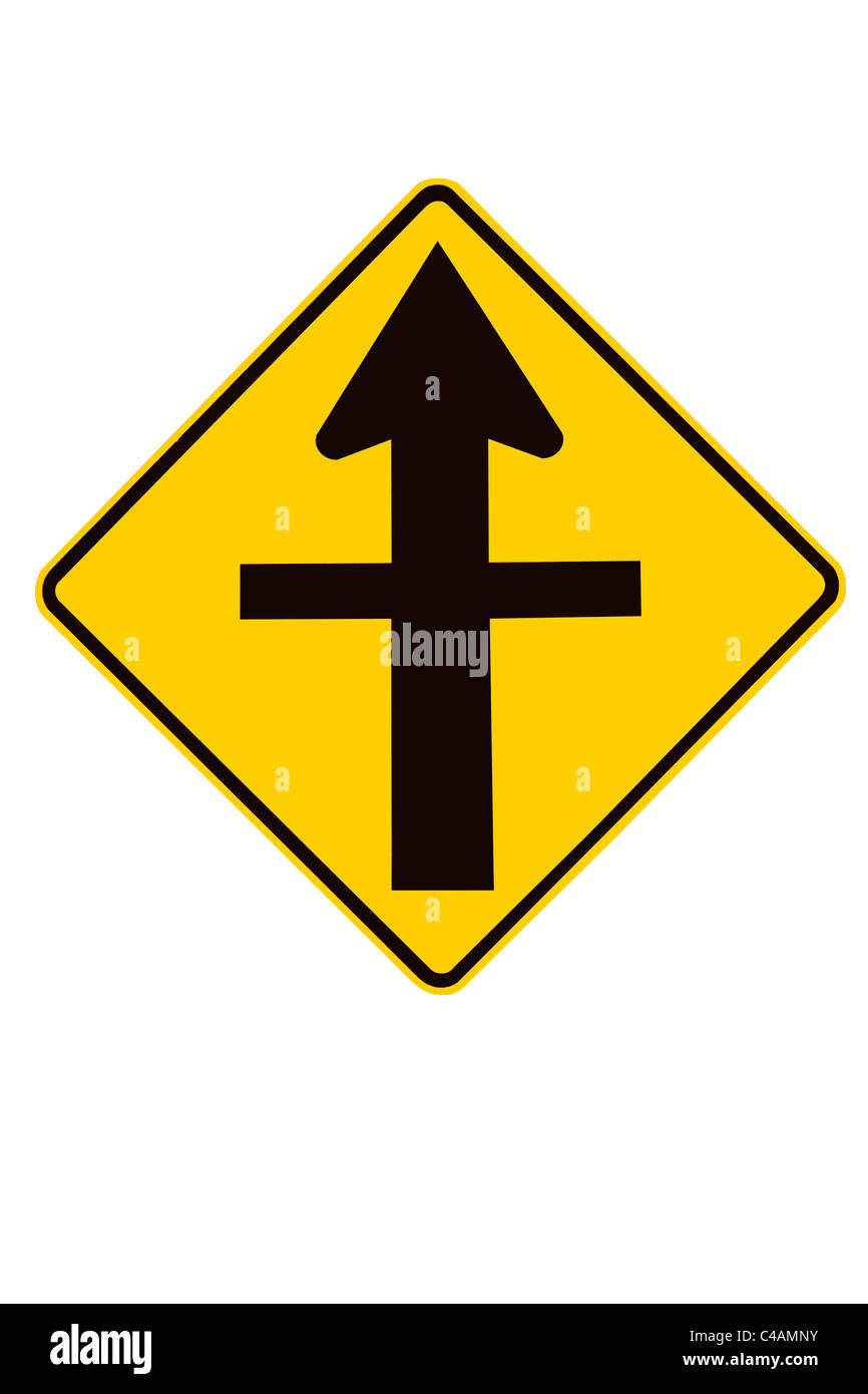 Cross Roads Junction (intersection) road sign, New Zealand - Stock Image