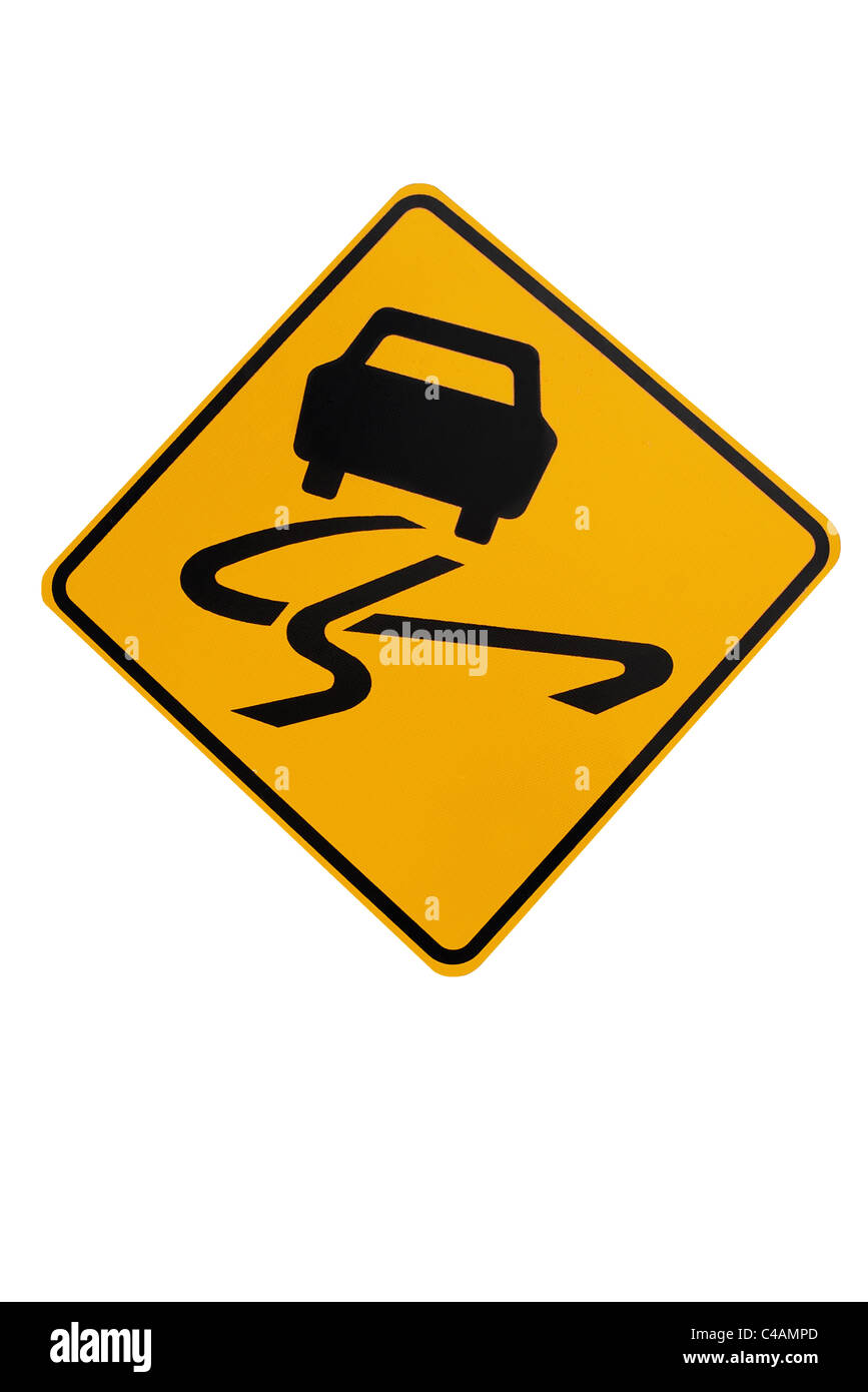 Icy or Slippery Conditions road sign, New Zealand - Stock Image