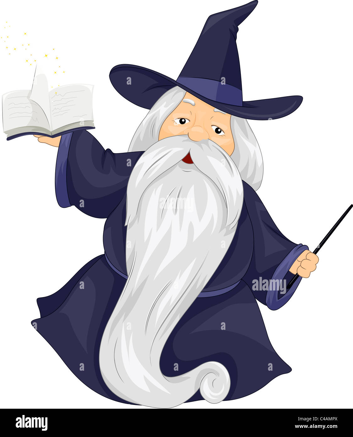 Illustration of a Fat Wizard Holding a Spell Book - Stock Image