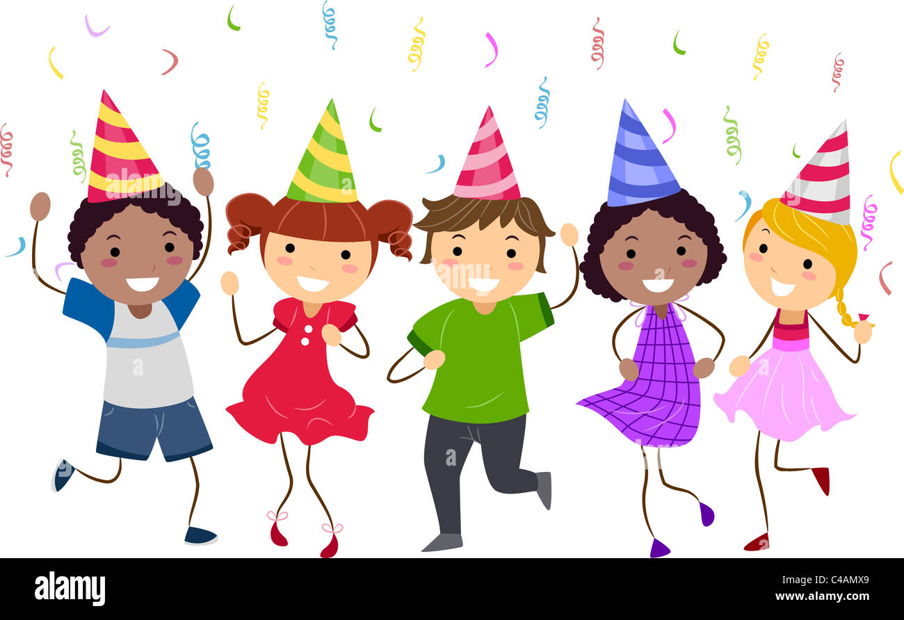 Illustration Of Kids Having A Dance Party Stock Photo Alamy
