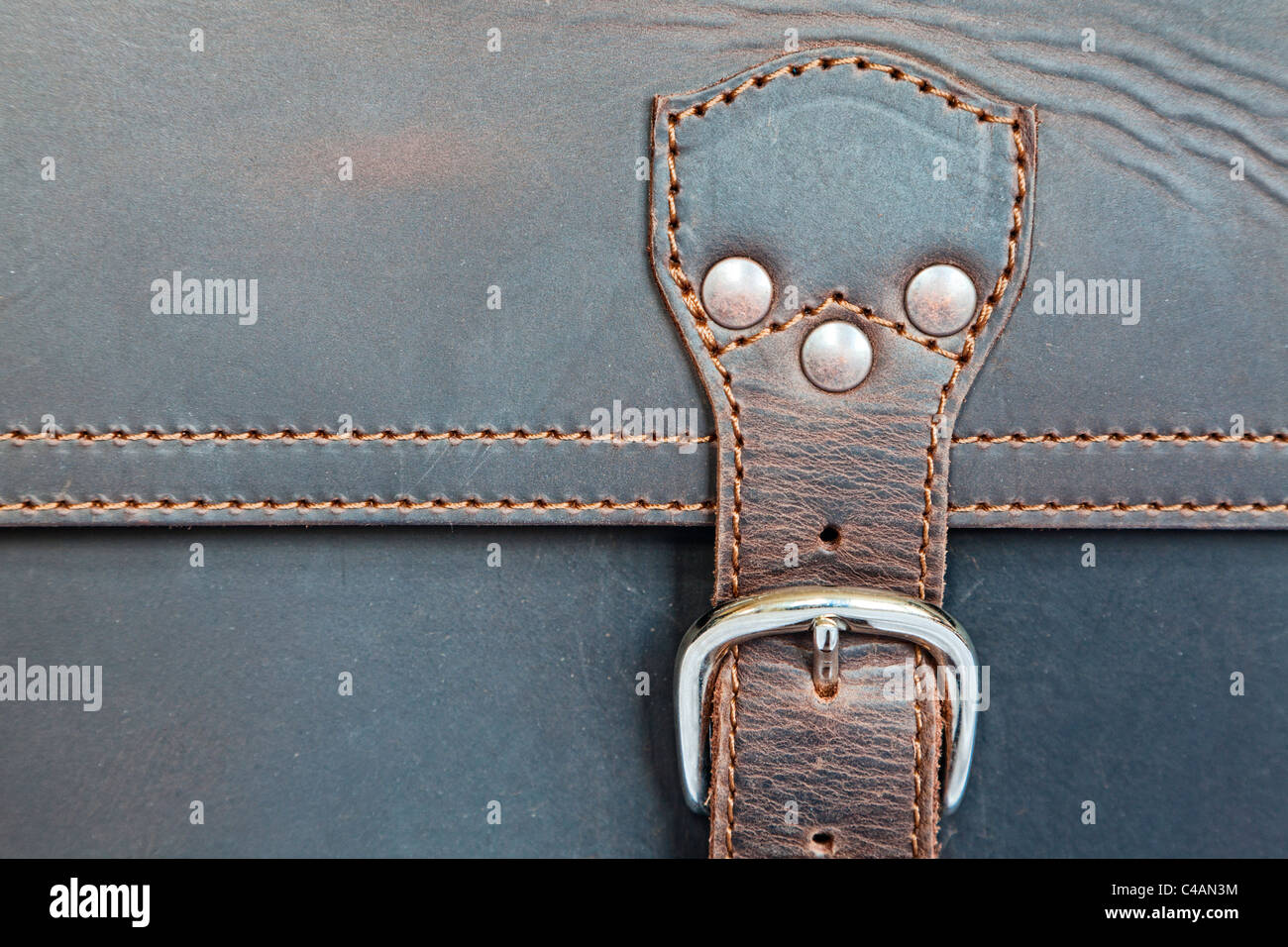 Closeup of a leather briefcase - Stock Image