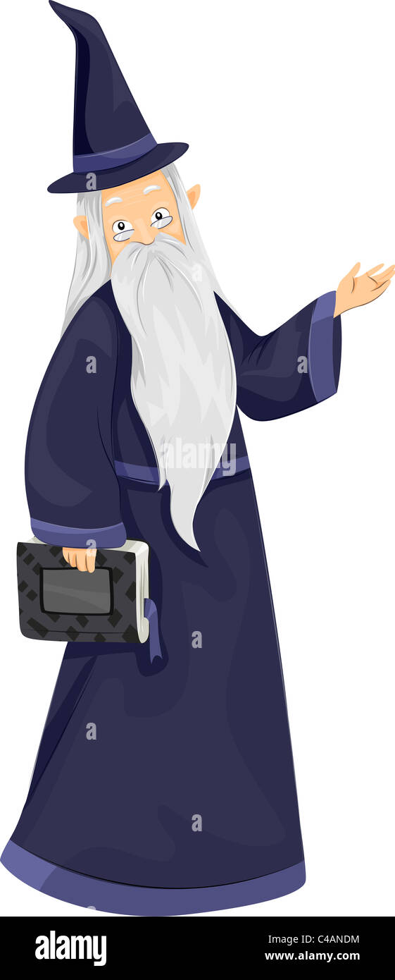 Illustration of a Wizard Carrying a Magic Book - Stock Image