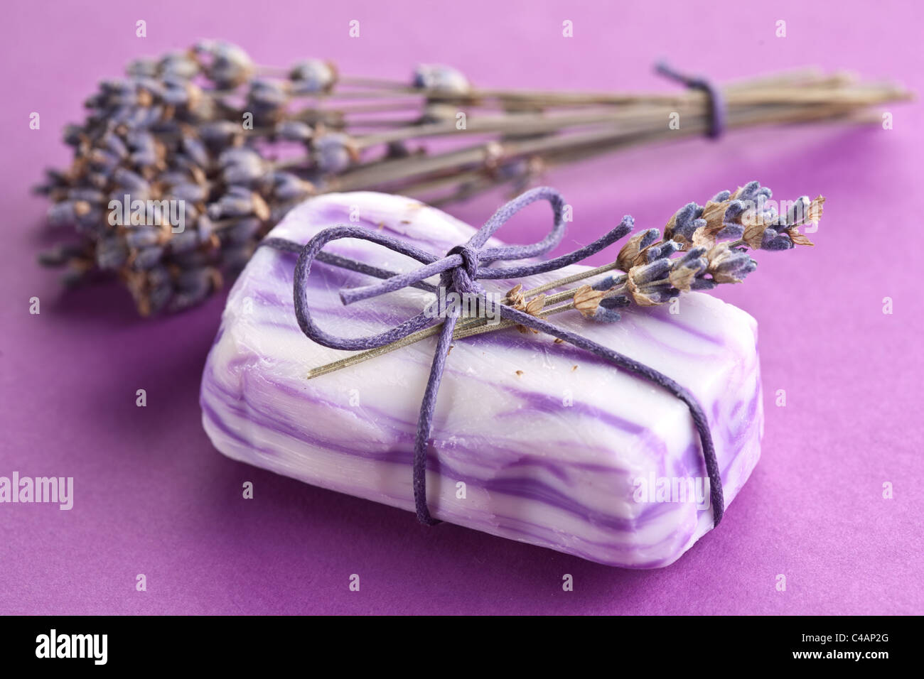 Soap with dried lavender. - Stock Image