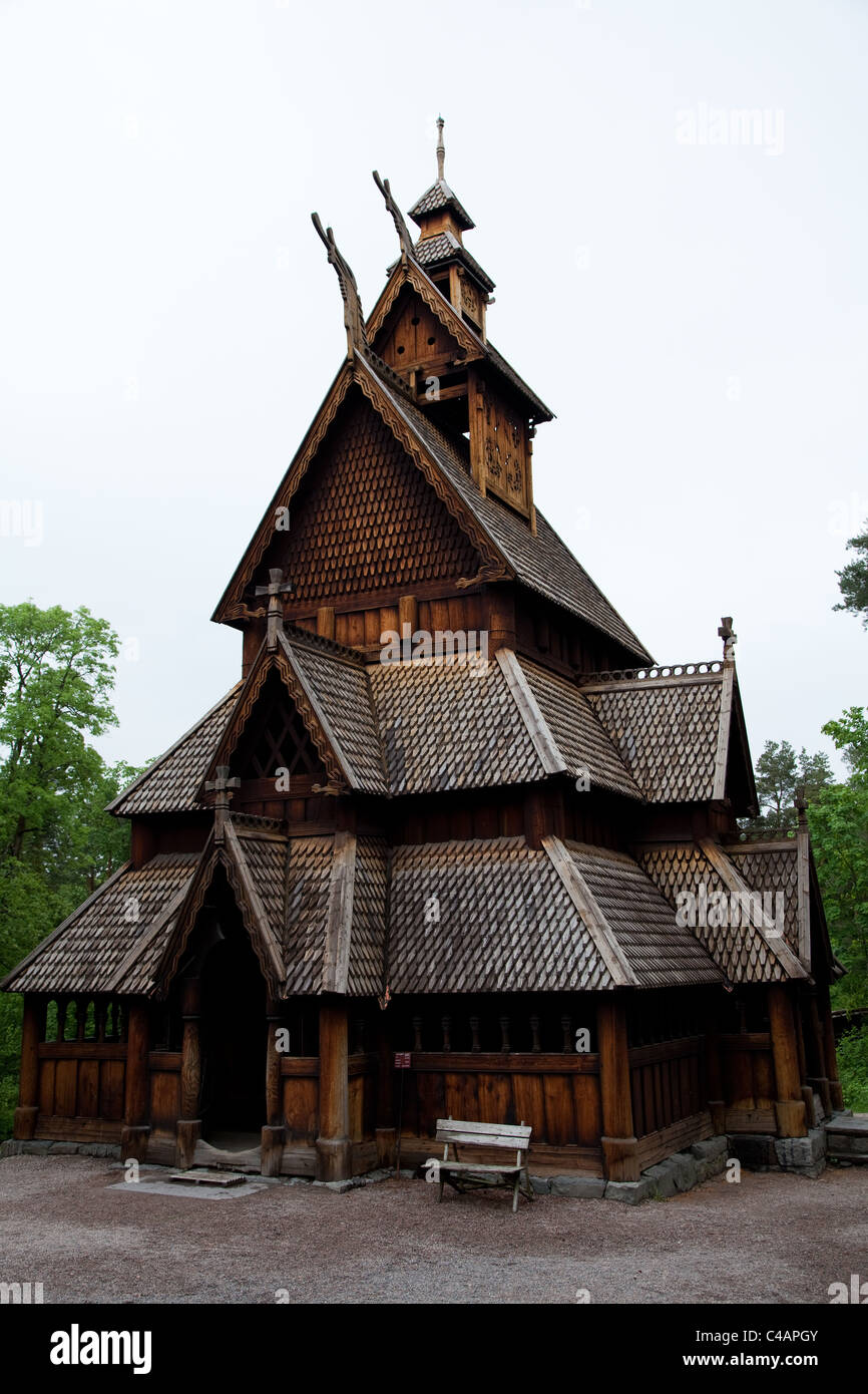 Norsk Folkemuseum on the island of Bygdoy in Oslo, capital city of Norway - Stock Image