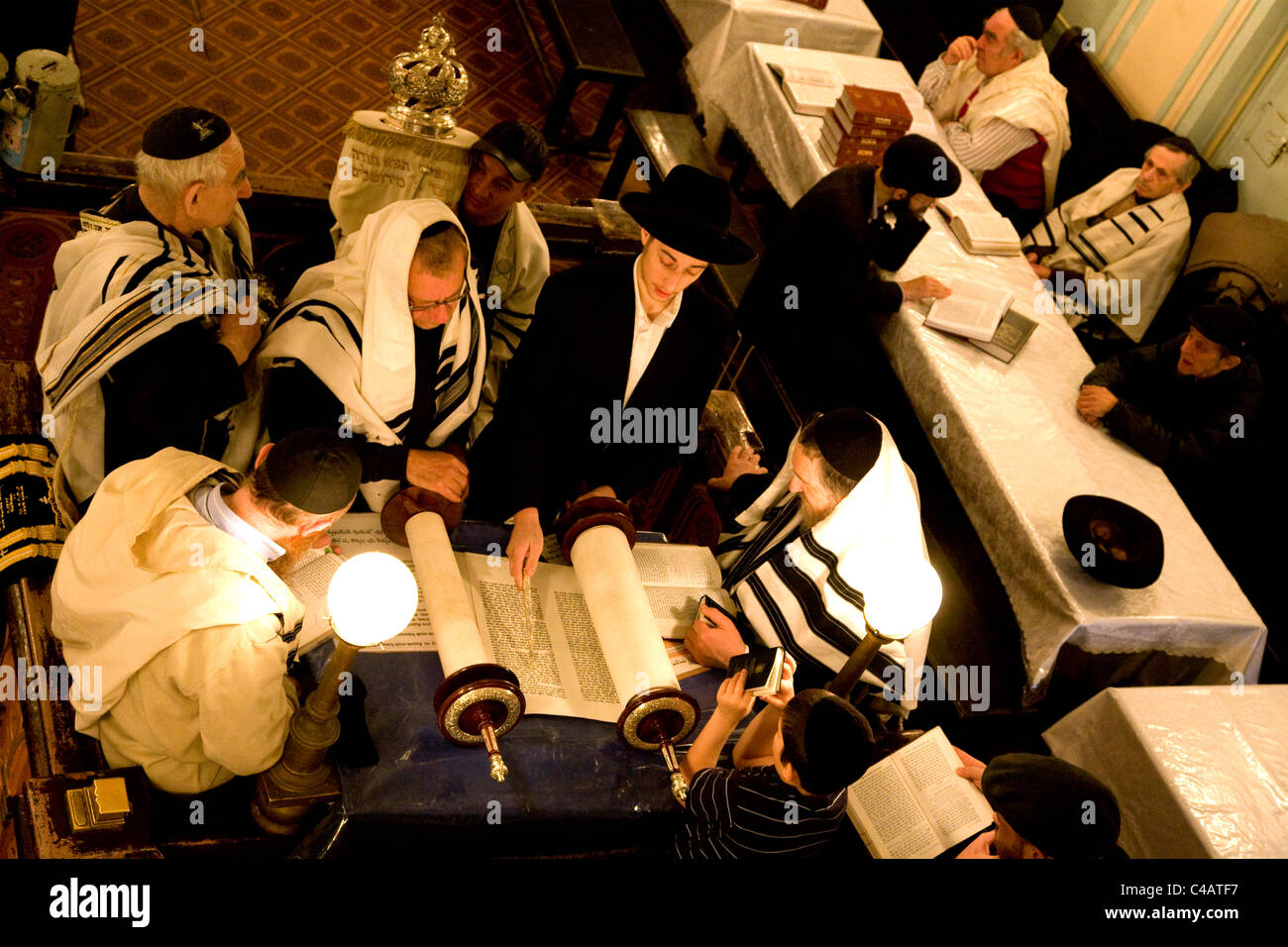 Russia, St.Petersburg; During a religious ceremony in the main old Synagogue in the historical centre Stock Photo