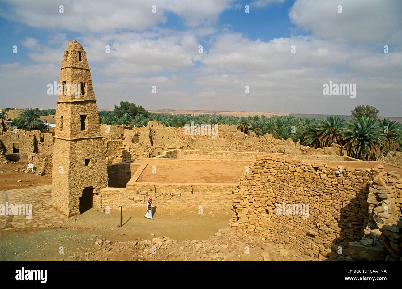 Saudi Arabia, Jouf, Domat al-Jandal. Standing alongside the ruined mud-brik remains of old Domat al-Jandal Stock Photo