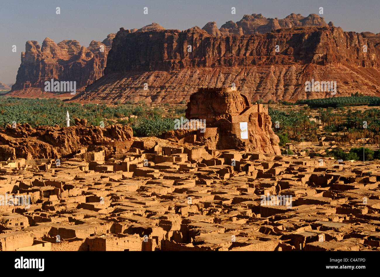 Saudi Arabia, Madinah, Al-Ula. The small yet striking castle of Musa Abdul Nasser rises in the midst of the crumblingStock Photo