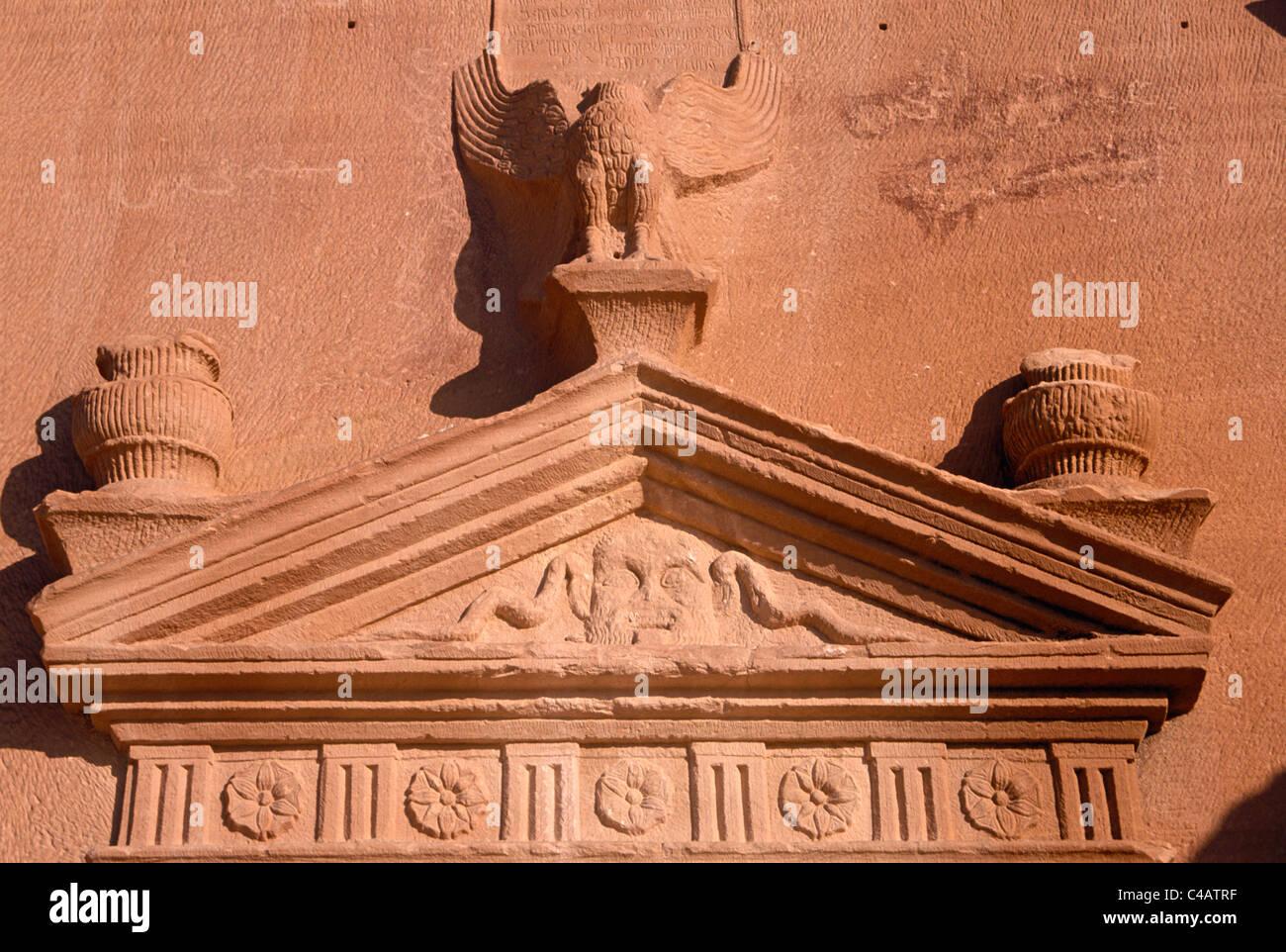Saudi Arabia, Madinah, nr. Al-Ula, Madain Saleh (aka Hegra). Decorative carvings - Stock Image