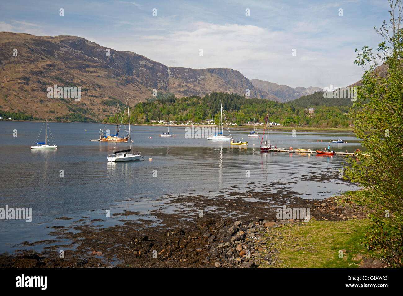 Yacht moorings at Ballachuilish, Loch Leven,  Glencoe, Highland Region Scotland. SCO 7132 - Stock Image