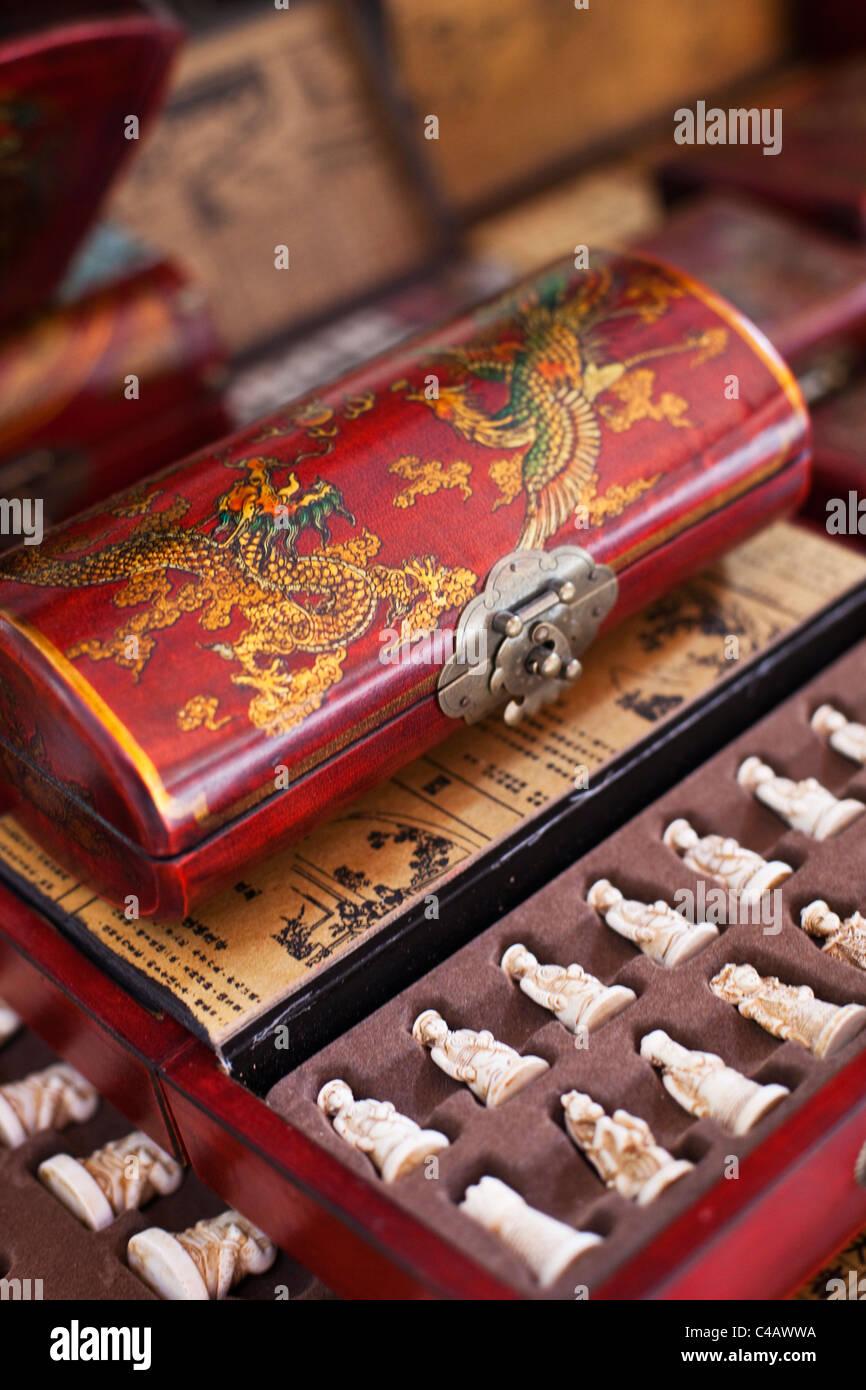 Singapore, Singapore, Chinatown. Souvenir chinese chess set . - Stock Image