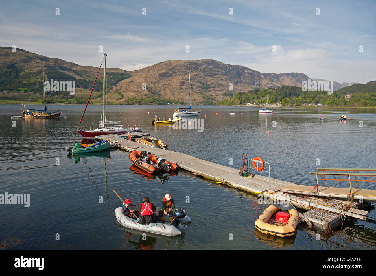 Boat moorings at Ballachuilish, Loch Leven,  Glencoe, Highland Region Scotland. SCO 7133 - Stock Image