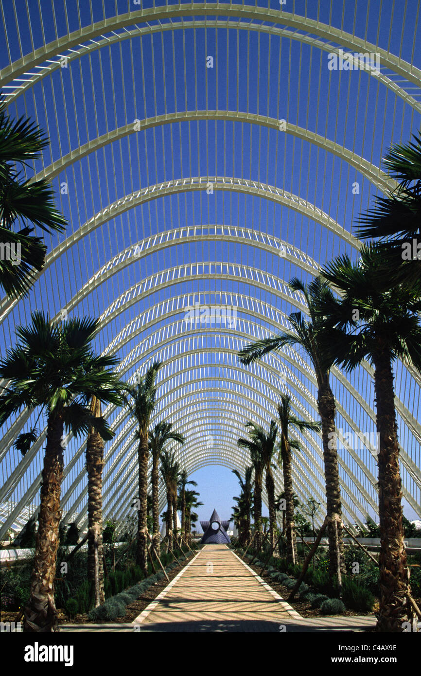 The L'Umbracle (Parking Structure) in Valencia, Spain by the Architect/Engineer Santiag Calatrava - Stock Image