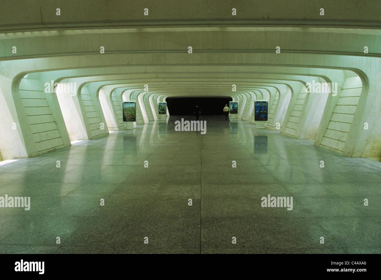 Underground link from carpark to the main terminal of Bilbao Sondika International Airport, - Stock Image