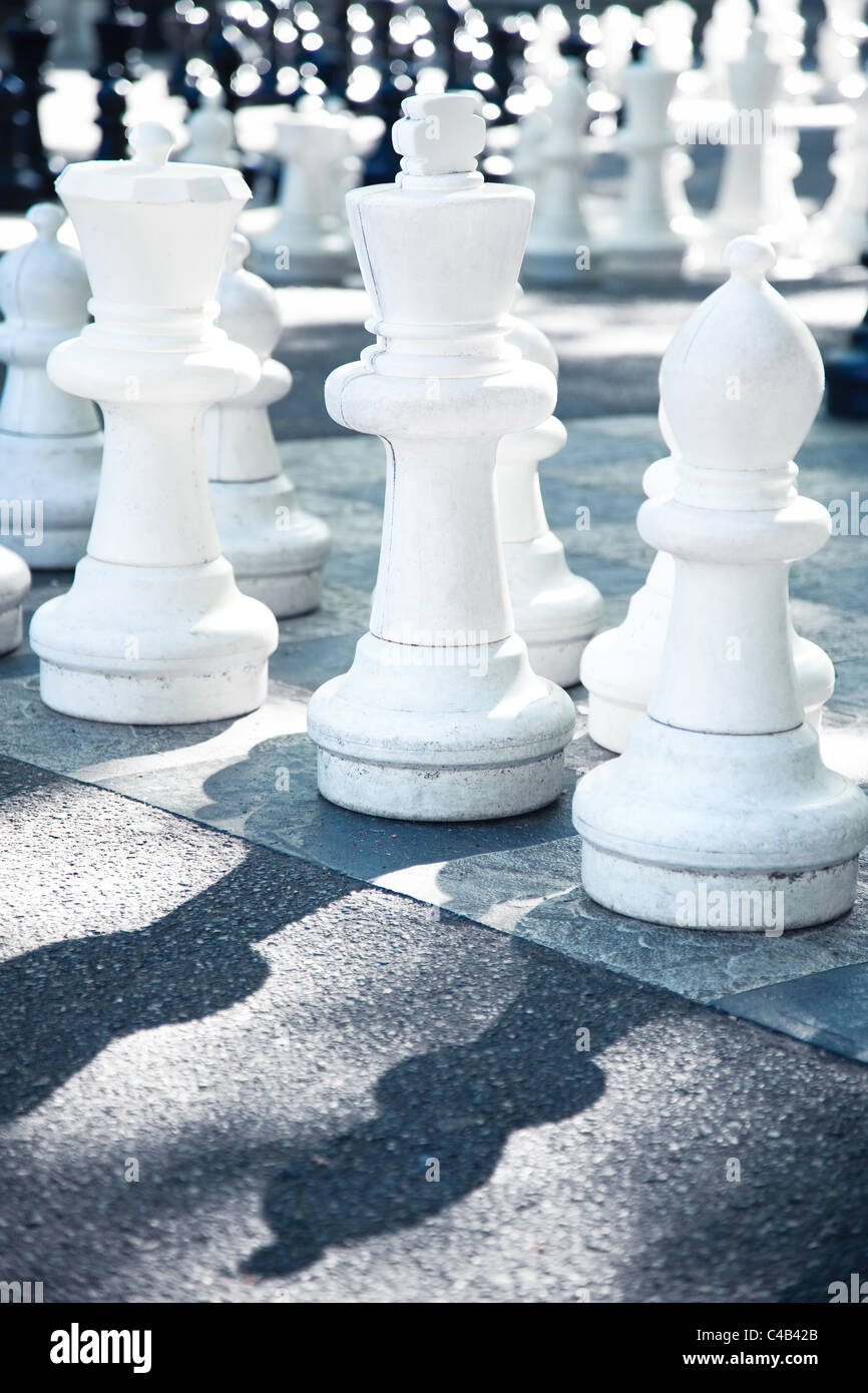 Street chess. Bright white colors. - Stock Image