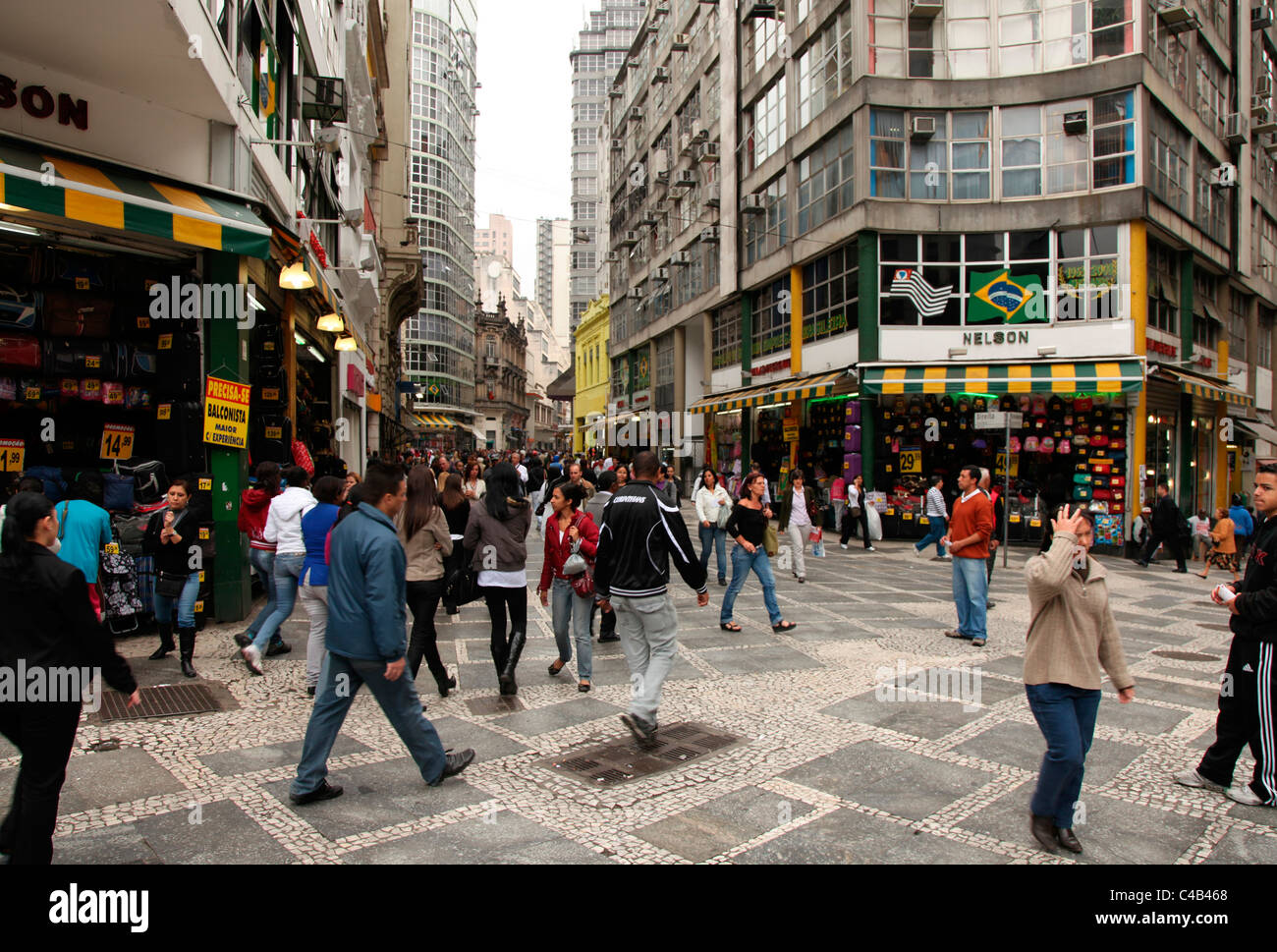 Pedestrian Area in Downtown Sao Paulo. Brazil - Stock Image