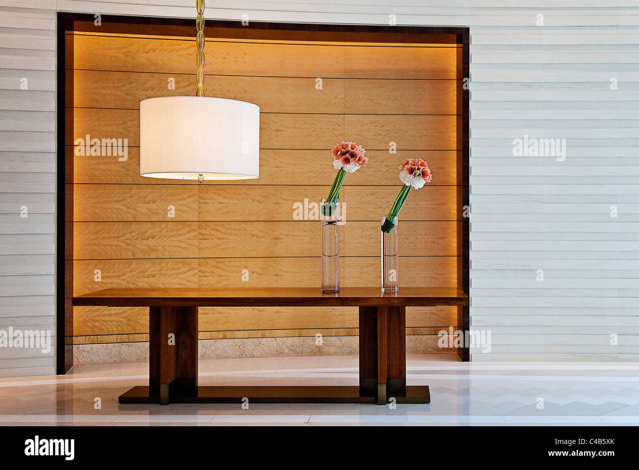 Entrance lobby of the Four Seasons Hotel, IFC Centre, Central District, Hong Kong China. - Stock Image