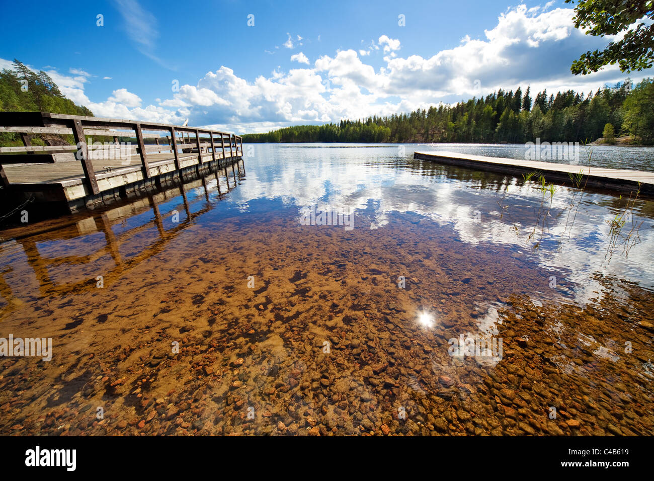 Lake shore. Wide angle view. - Stock Image