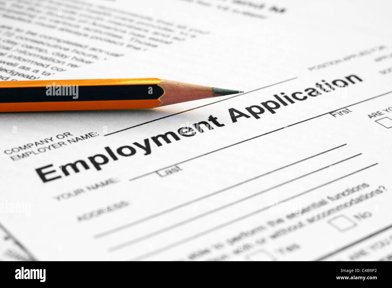 Employment application form - Stock Image