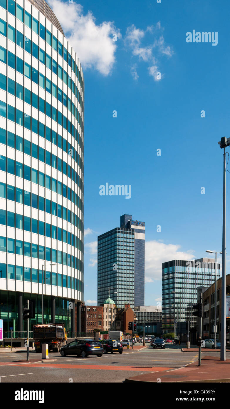 The CIS building from City Park office tower, Green Quarter, Miller Street, Manchester, England, UK. - Stock Image