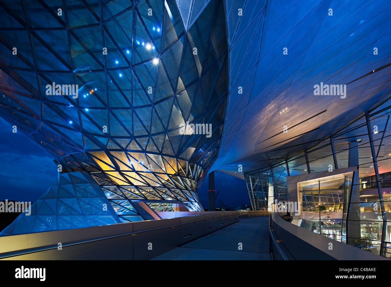 The main entrance to BMW Welt (BMW World) , a multi-functional customer experience and exhibition facility of the - Stock Image