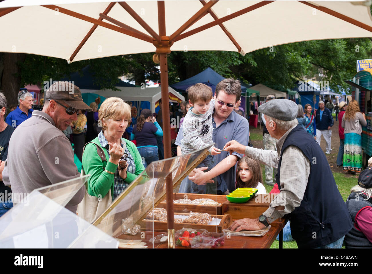 Food stall at Denmark markets. Denmark, Western Australia, Australia - Stock Image