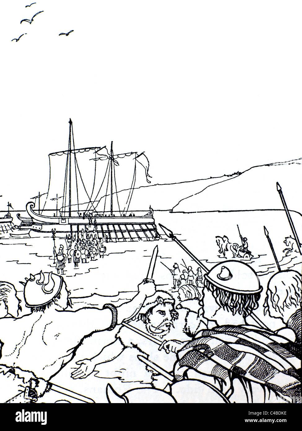 Julius Caesar Wood Cut of the Romans Landing in Britain - Stock Image