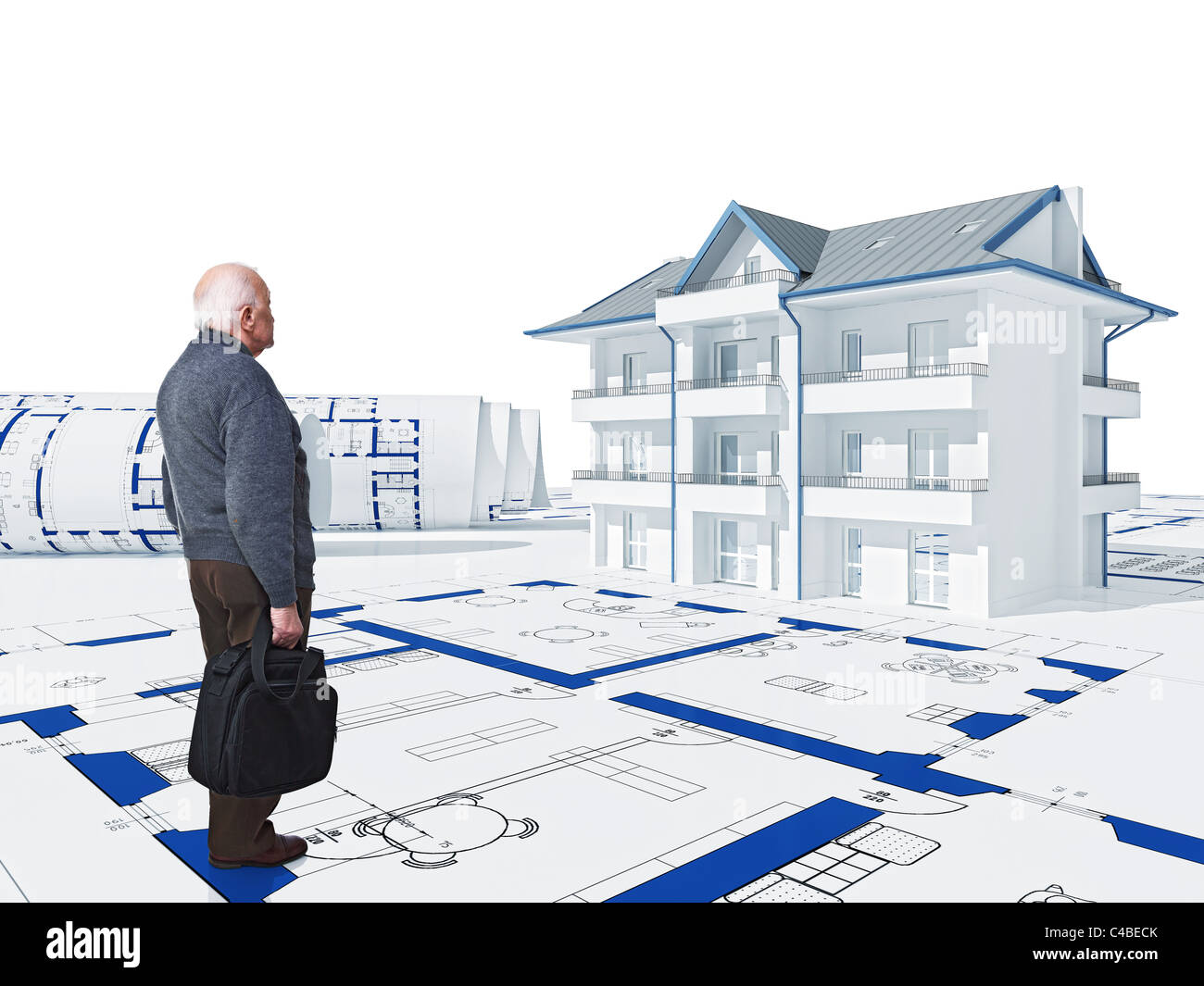 Standing Old Man Look His New House 3d Model On Blueprint