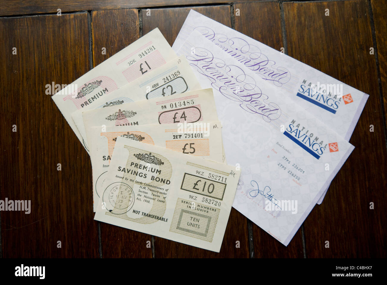 Original  NS&I Premium Bonds, National Savings & Investments from 1958 - Stock Image