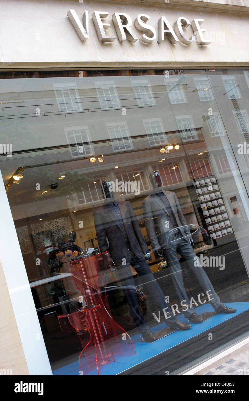 VERSACE, iconic Itlalian fashion house, their Sloane Street retail outlet is viewed here at an extreme angled aspect. - Stock Image
