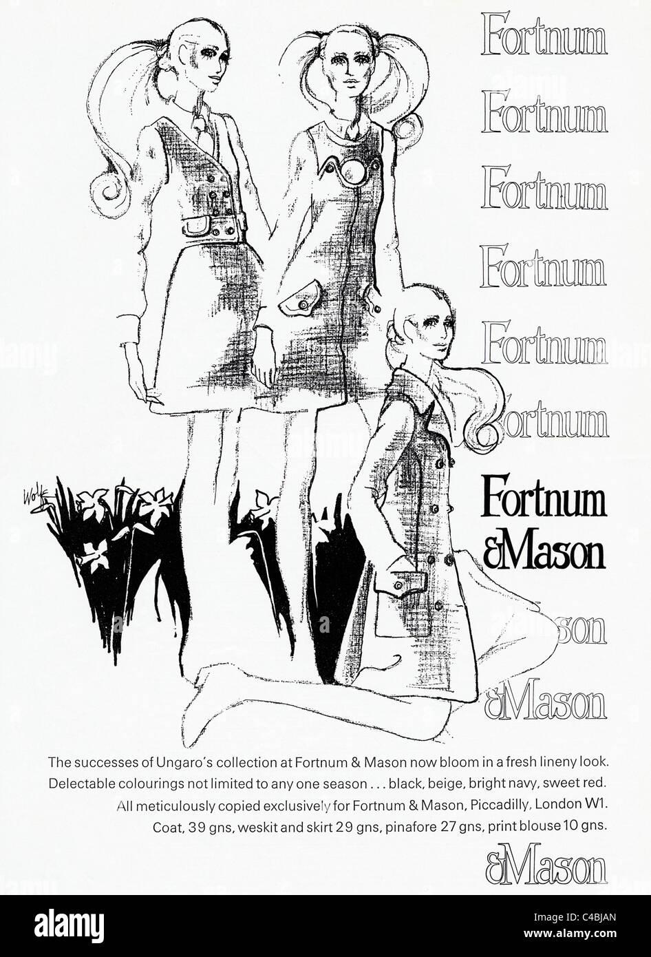 Full page original advertisement in fashion magazine circa 1969 for UNGARO'S collection at FORTNUM & MASON - Stock Image