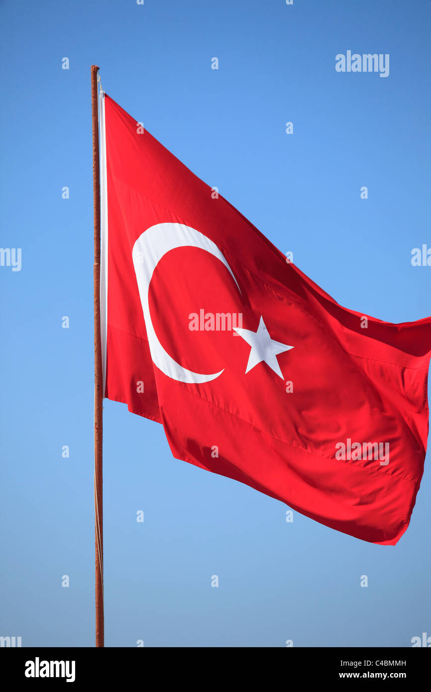 Turkey, Alanya, Turkish flag, - Stock Image
