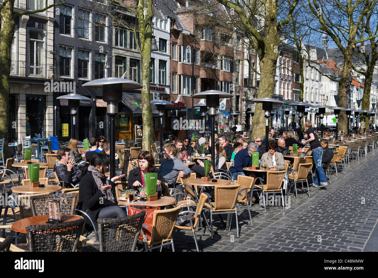Sidewalk cafe in the Grote Markt (Main Square), Breda, Netherlands Stock Photo