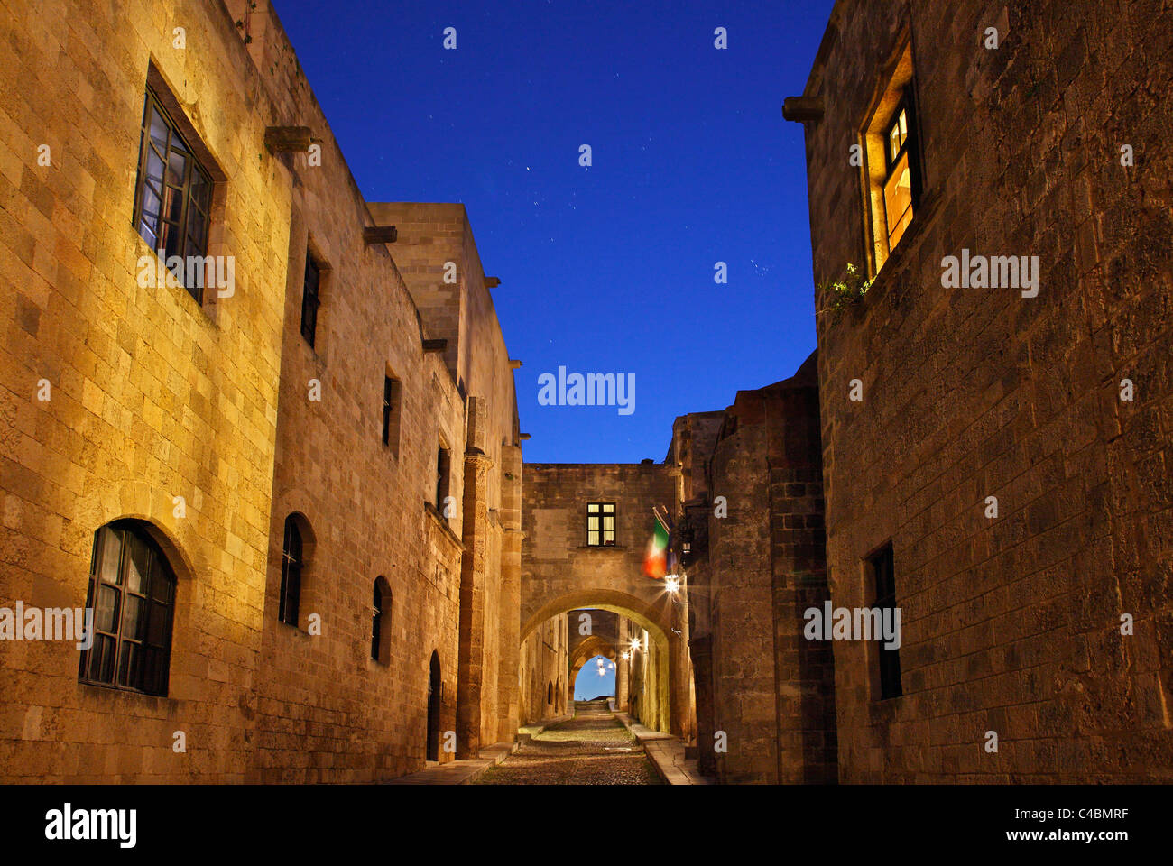 Partial view of the famous 'Avenue of the Knights' in the Knights' quarter, in the Medieval town of - Stock Image