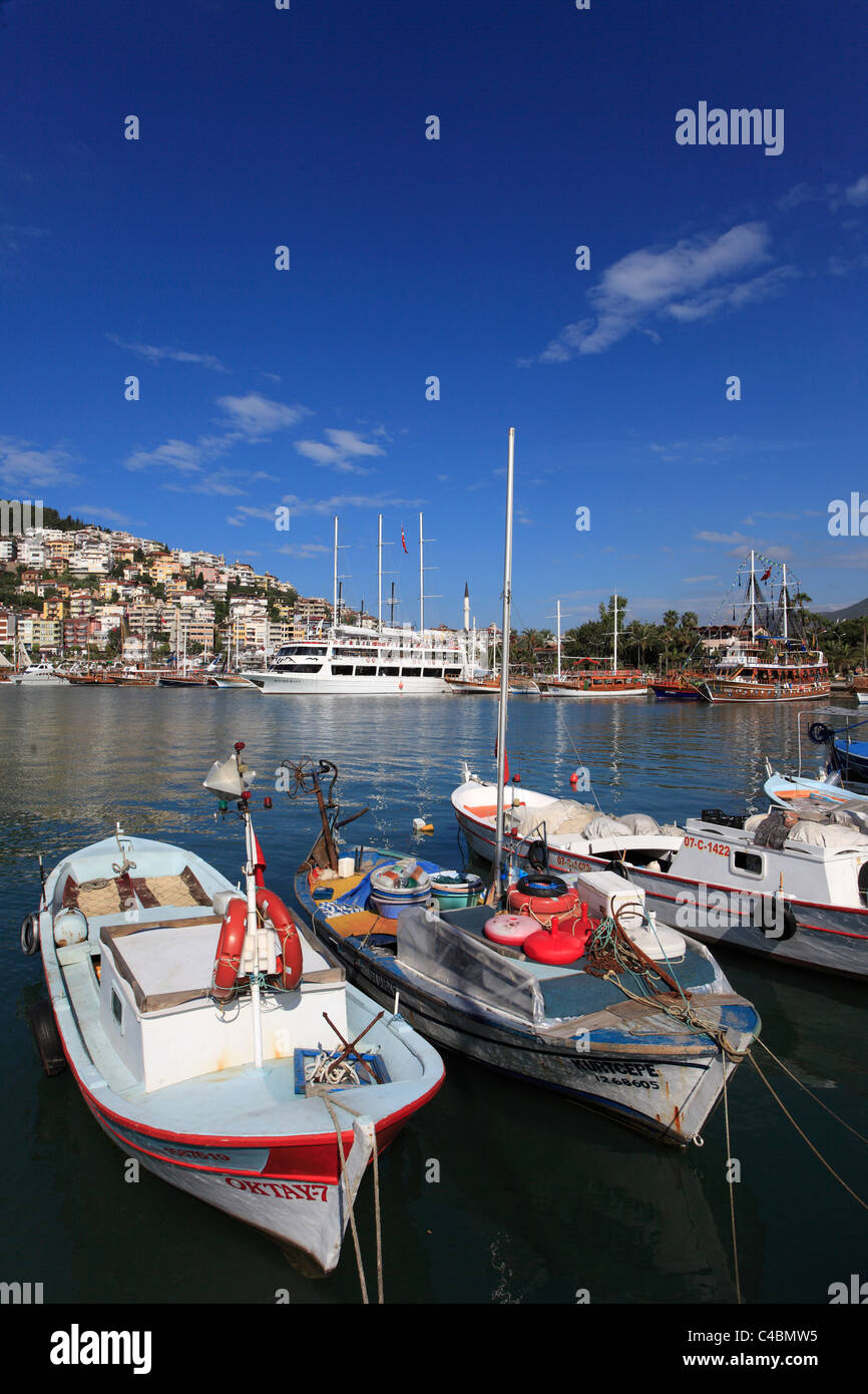 Turkey, Alanya, harbour, boats, - Stock Image