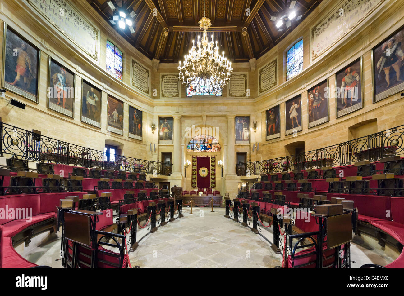 The Assembly Chamber in the Assembly House (Casa de las Juntas), Gernika (Guernica), Bizkaia, Basque Country, Spain - Stock Image