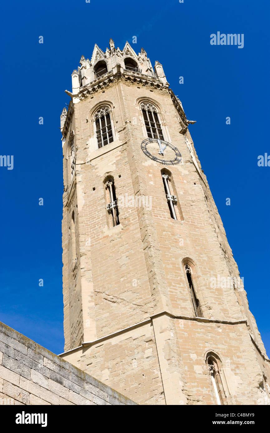 Bell tower of the Seu Vella (Old Cathedral), Lleida (Lerida), Catalunya, Spain - Stock Image