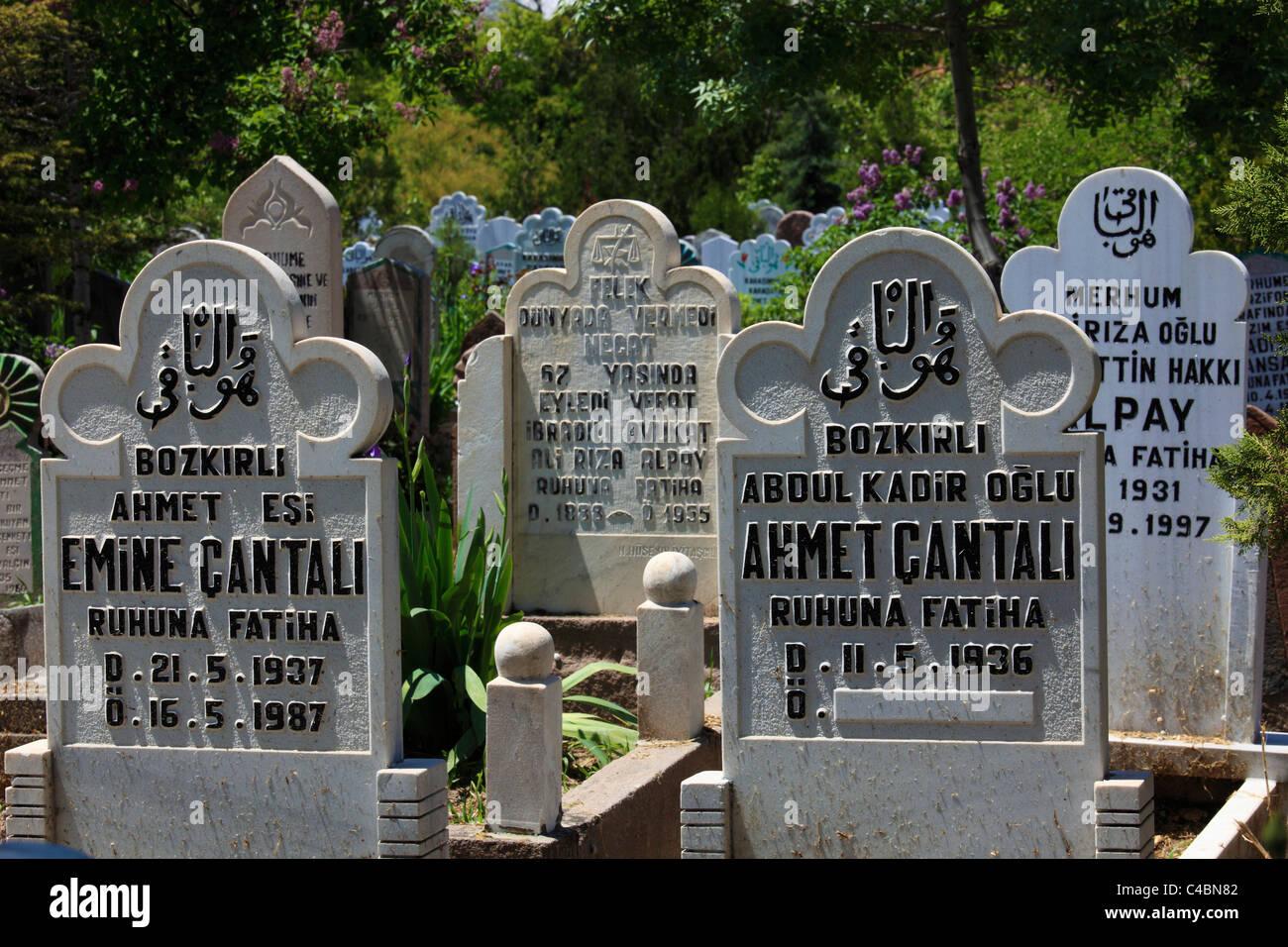 Turkey, Konya, muslim cemetery, tombstones, - Stock Image